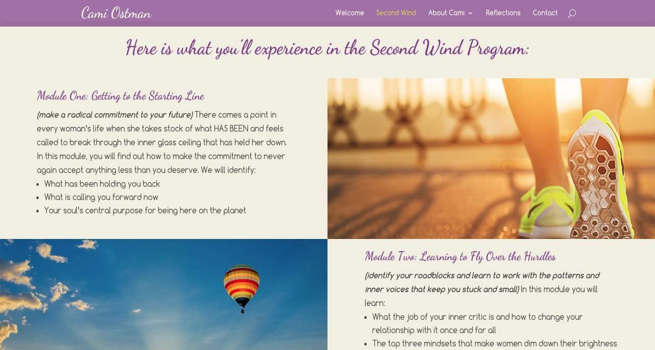 life coach website design showing aspects of the second wind program
