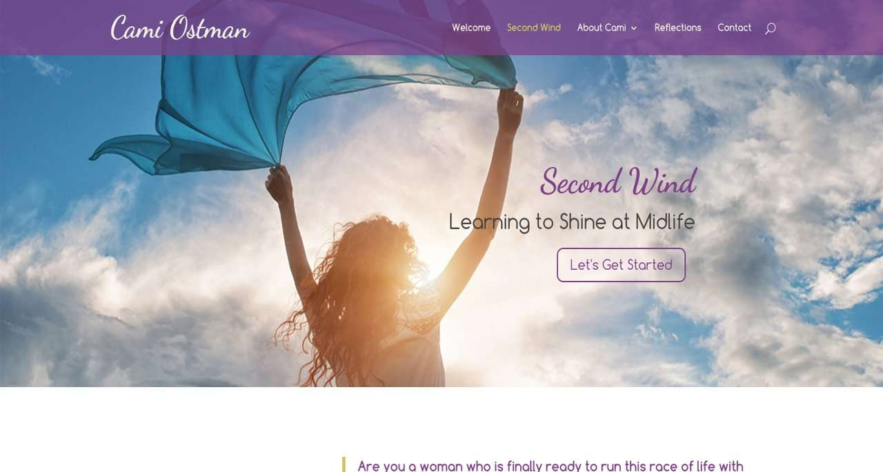 life coach website design featuring woman standing in the wind
