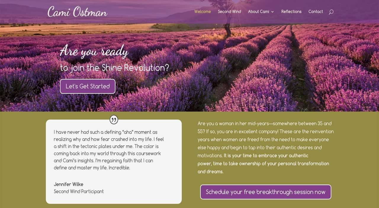 life coach website design for cami ostman