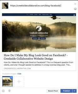 screenshot showing facebook's image sharing default