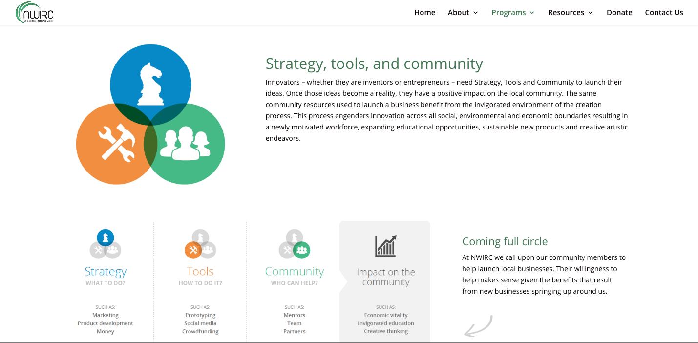 screenshot from nwirc wordpress website design