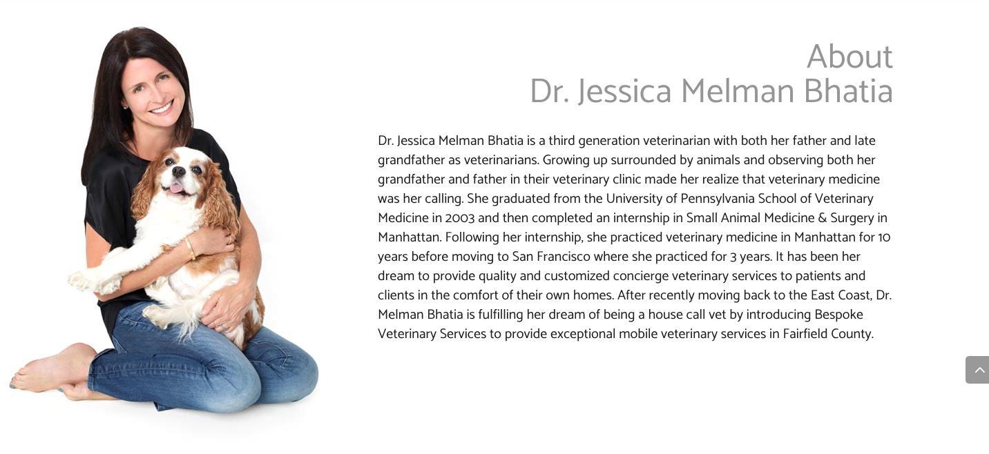 screen shot from bespoke veterinary services website