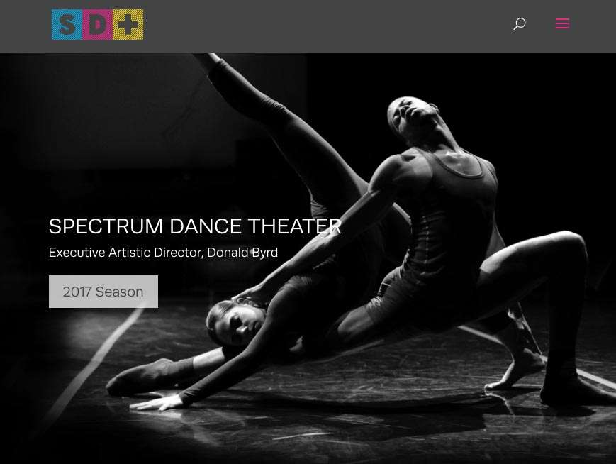example of nonprofit websites featuring black and white photo of dancers