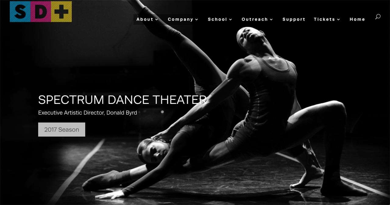 screenshot of Spectrum Dance Theater homepage as example of nonprofit website design
