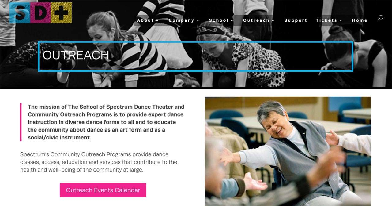 screen shot Spectrum Dance Theater website design project