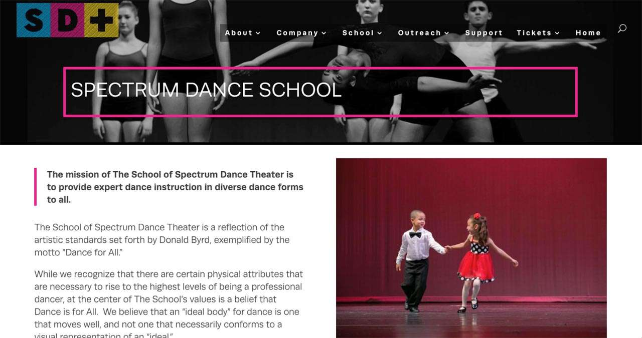 screenshot of page featuring child dancers as example of nonprofit website design