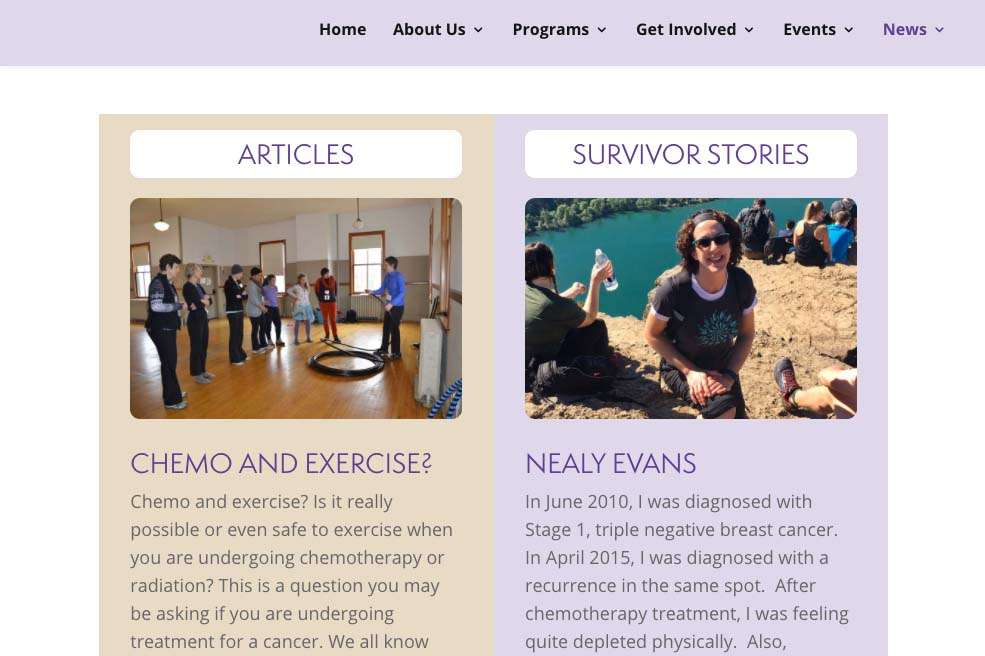 screen shot from teamsurvivornw.org website