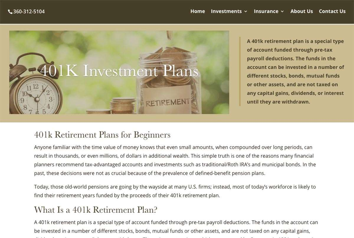 screen shot from financial services page web design bellingham wa