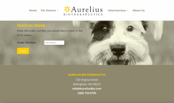 screenshot from Aurelius Biotherapeutics wordpress web design