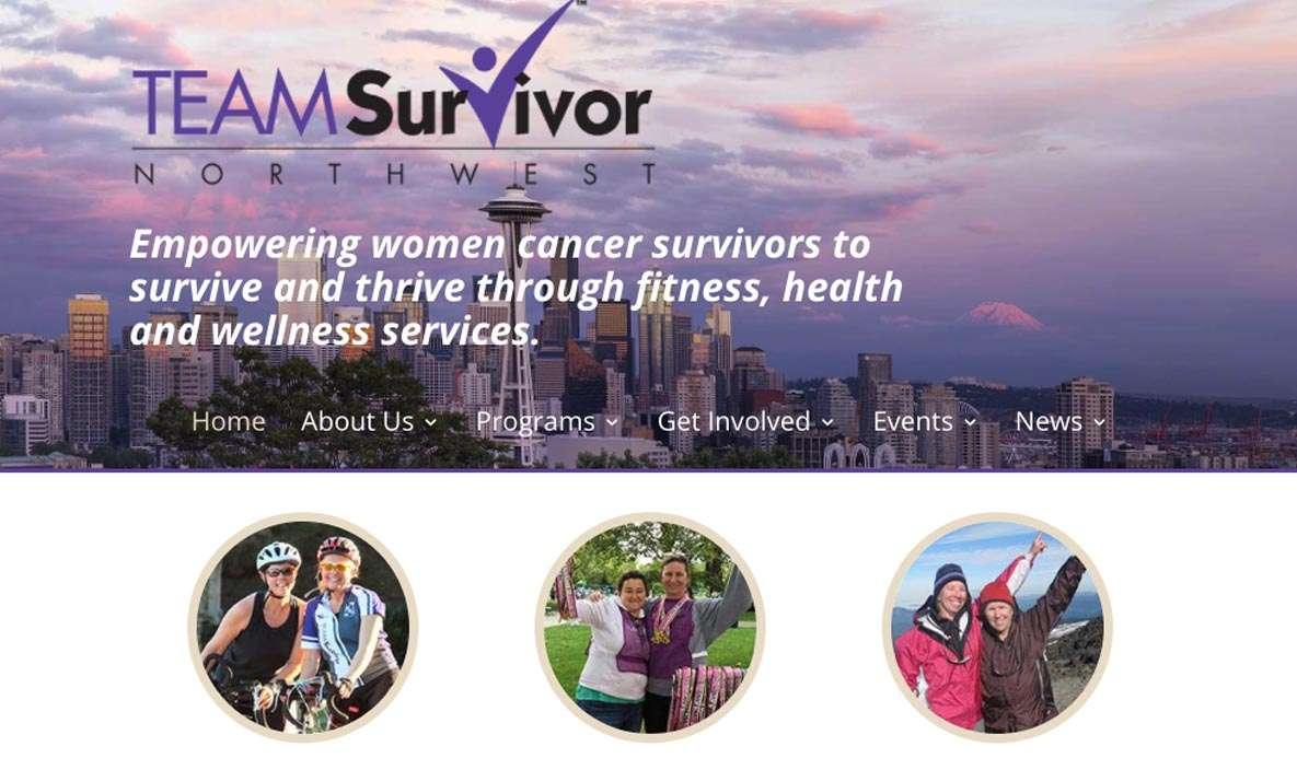 web design for team survivor northwest