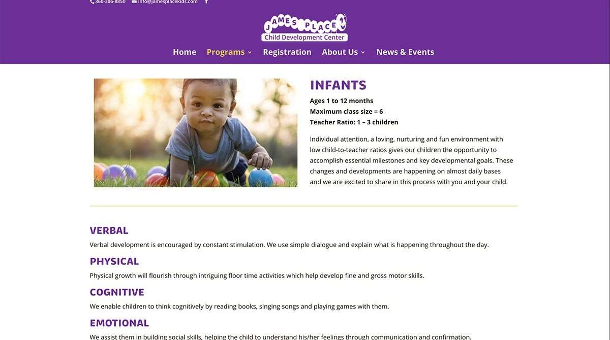 screen shot from james place kids wordpress website design